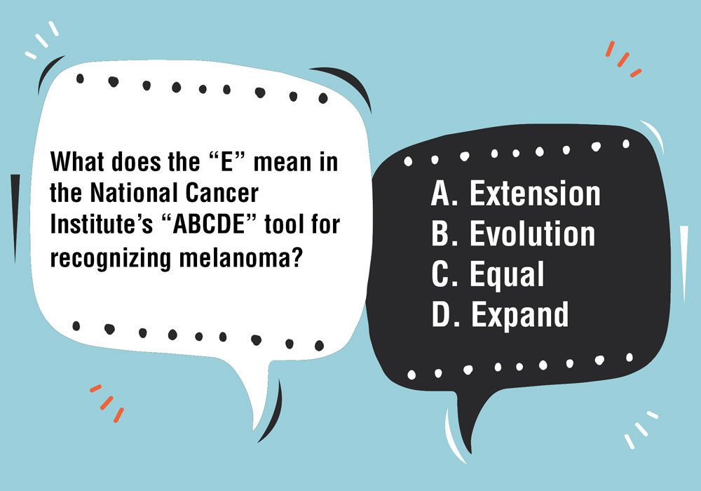 "What Does the ""E"" Mean in the National Cancer Institute's ""ABCDE"" Tool for Recognizing Melanoma?"