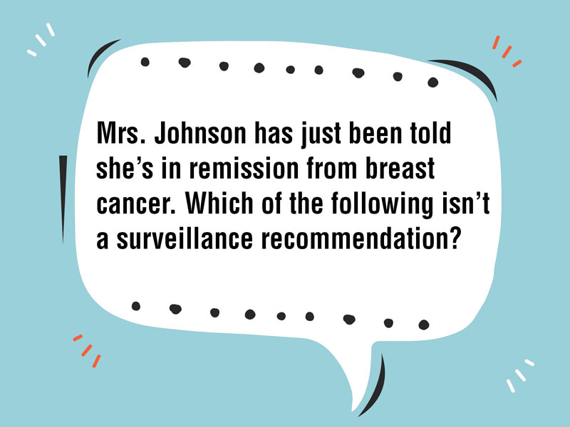 Which of the Following Isn't a Breast Cancer Surveillance Recommendation?