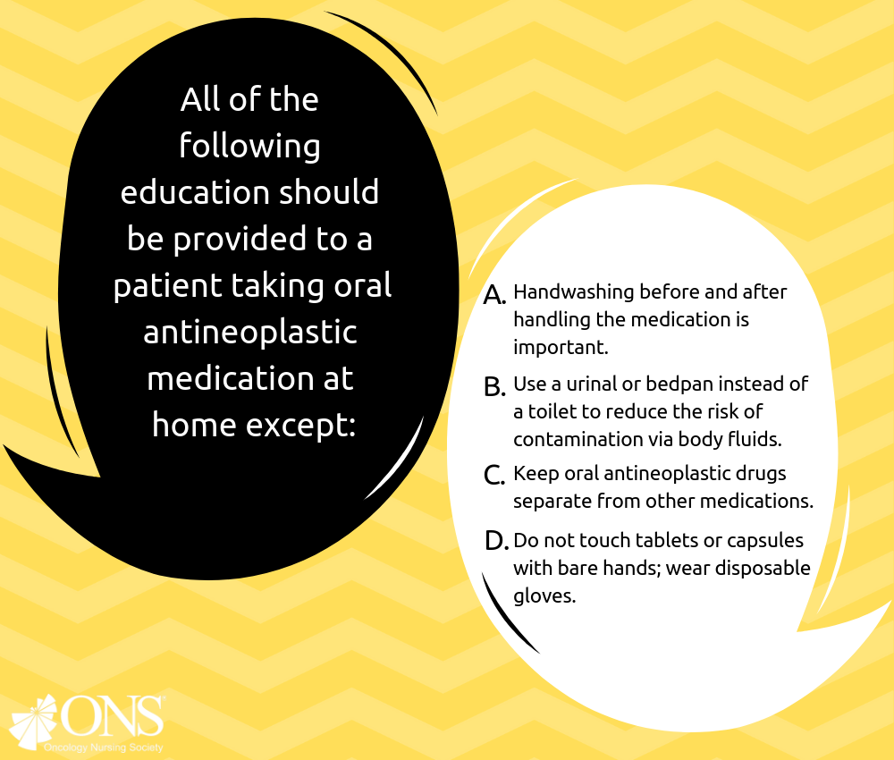 Which of the Following Should Not Be Recommended to Patients Taking Oral Antineoplastic Medication at Home?