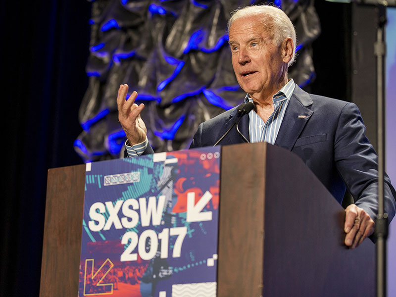 Biden speaks at South by Southwest in Austin, TX.