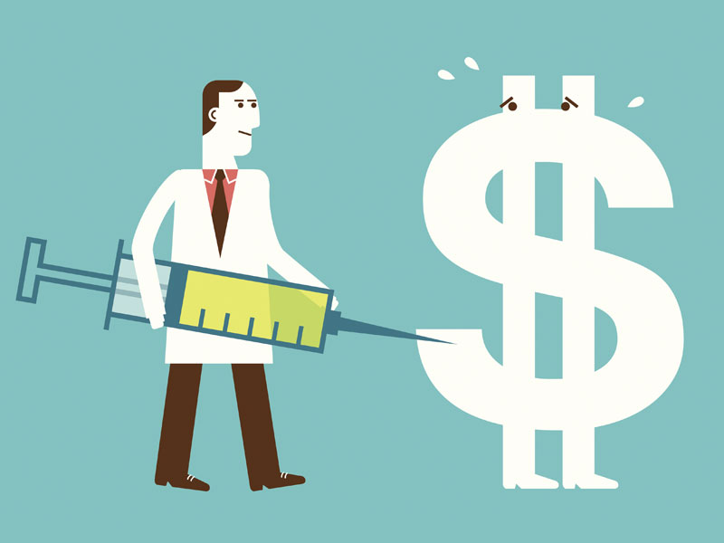 illustration of doctor with a dollar sign