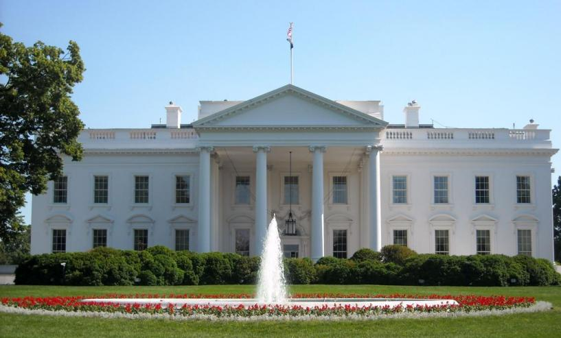 The White House with a flowing fountain